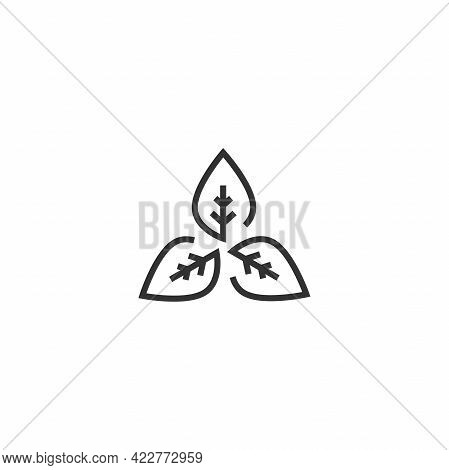 Three Leaves Silhouette. Icon Isolated On White. Logo For Eco Company, Agriculture, Nature Firm, Eco