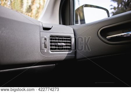 Suv Car Air Conditioning Concept. Air From The Vent Panel Grille Of A Modern Car.
