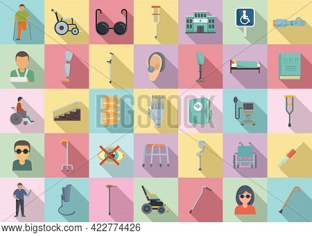 Handicapped Icons Set. Flat Set Of Handicapped Vector Icons For Web Design