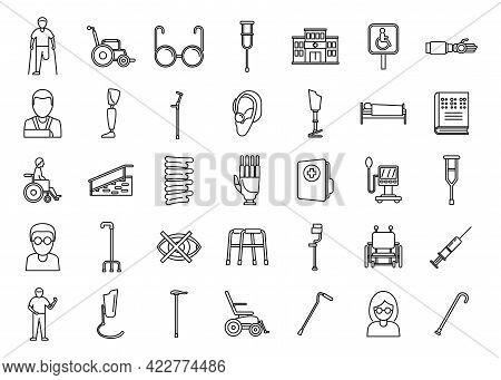 Handicapped Hospital Icons Set. Outline Set Of Handicapped Hospital Vector Icons For Web Design Isol