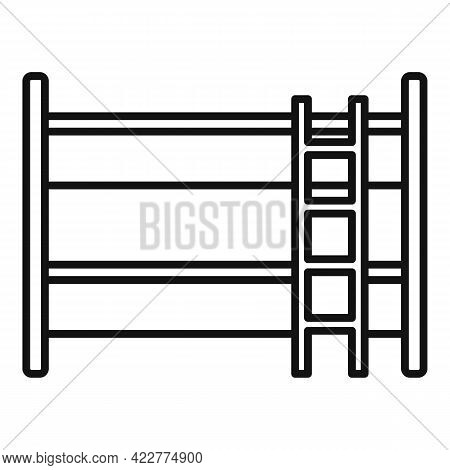 Bunk Bed Icon. Outline Bunk Bed Vector Icon For Web Design Isolated On White Background