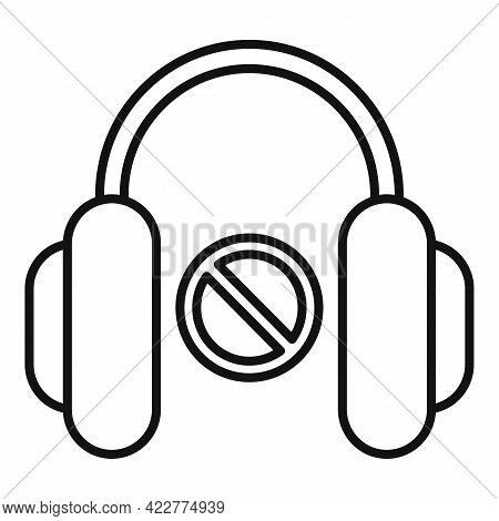 No Sound Headphones Icon. Outline No Sound Headphones Vector Icon For Web Design Isolated On White B
