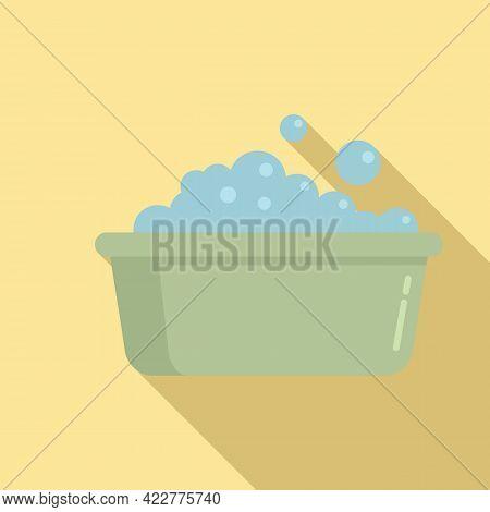 Wash Foam Basin Icon. Flat Illustration Of Wash Foam Basin Vector Icon For Web Design
