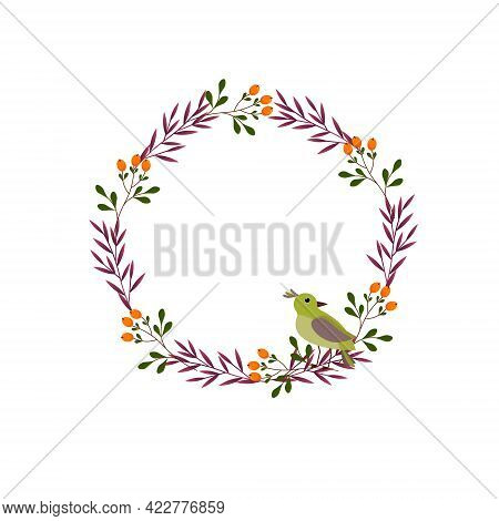 Oval Frame With A Bird, Leaves And Orange Berries. Nature Illustration. Vector Illustration Isolated