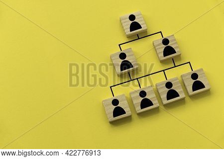 Company Hierarchical Organizational Chart Of Blocks On Yellow Background With Copy Space.