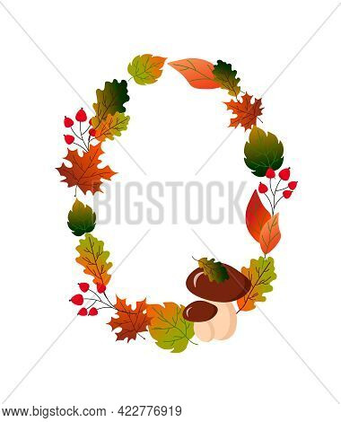Oval Frame With Autumn Leaves, Berries And Mushrooms. Vector Illustration Isolated On White Backgrou