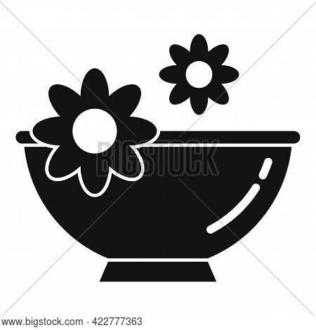 Essential Oils Flower Bowl Icon. Simple Illustration Of Essential Oils Flower Bowl Vector Icon For W
