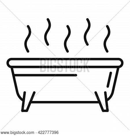 Essential Oils Bathtub Icon. Outline Essential Oils Bathtub Vector Icon For Web Design Isolated On W