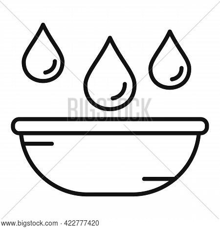 Essential Oils Bowl Icon. Outline Essential Oils Bowl Vector Icon For Web Design Isolated On White B