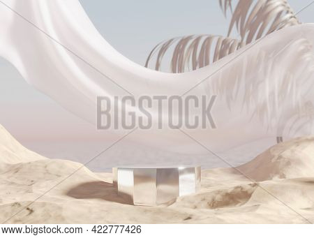 3d Podium Display With Ocean, Sand Beach. Pastel Beige Background With Palm Leaf. Cosmetic, Beauty P