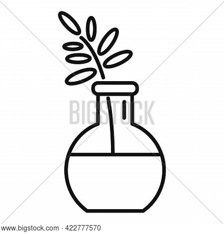 Essential Oils Plant Flask Icon. Outline Essential Oils Plant Flask Vector Icon For Web Design Isola