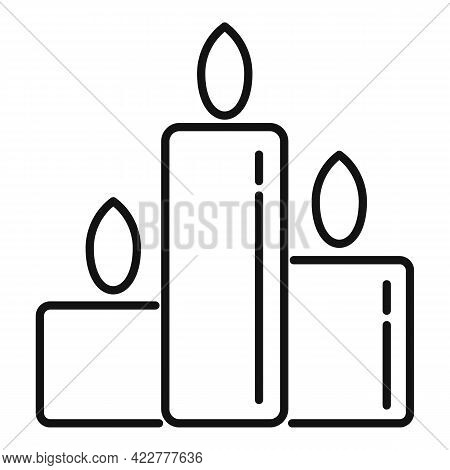 Essential Oils Burning Candles Icon. Outline Essential Oils Burning Candles Vector Icon For Web Desi