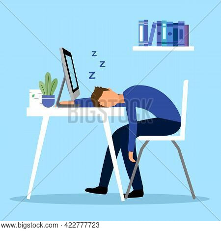 Company Staff Sleeping At Work In Flat Design. Tired Overworked Employee Sleeping In Office. Busines