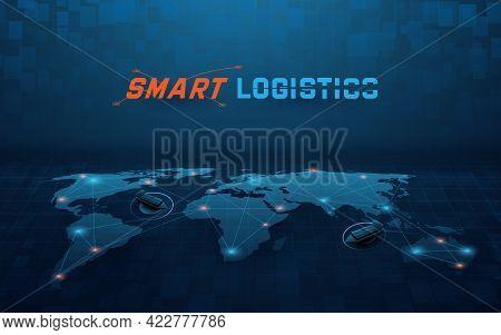 Smart Global Logistics Network. Business Logistics And Transportation. Cargo Ship. Vector Illustrati