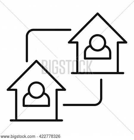 Home Office Connection Icon. Outline Home Office Connection Vector Icon For Web Design Isolated On W