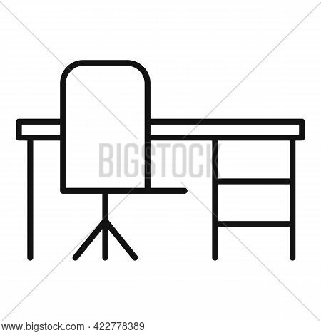 Home Office Desktop Icon. Outline Home Office Desktop Vector Icon For Web Design Isolated On White B
