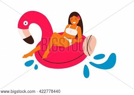 Girl Floating On A Pink Flamingo Float Circle. Vector Illustration Isolated On White Background