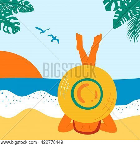 Retro Summer Poster With A Beautiful Woman. Great Banner For Beach Party, Hotel Vacation Advertiseme