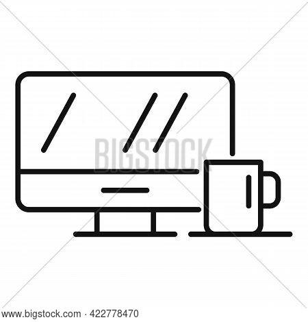 Home Office Tea Mug Icon. Outline Home Office Tea Mug Vector Icon For Web Design Isolated On White B