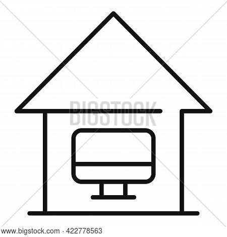 Home Office Social Icon. Outline Home Office Social Vector Icon For Web Design Isolated On White Bac