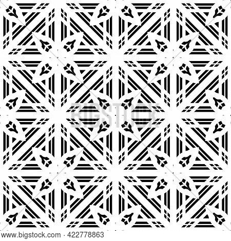 Design Seamless Monochrome Grating Pattern. Abstract Decorative Background. Vector Art