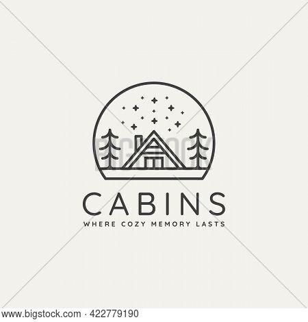 Winter Cabin Minimalist Line Art Badge Logo Template Vector Illustration Design. Simple Minimalist C
