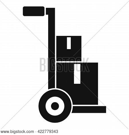 Parcel Cart Home Delivery Icon. Simple Illustration Of Parcel Cart Home Delivery Vector Icon For Web