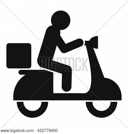 Scooter Home Delivery Icon. Simple Illustration Of Scooter Home Delivery Vector Icon For Web Design