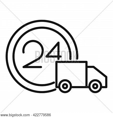 24 Hour Home Delivery Icon. Outline 24 Hour Home Delivery Vector Icon For Web Design Isolated On Whi