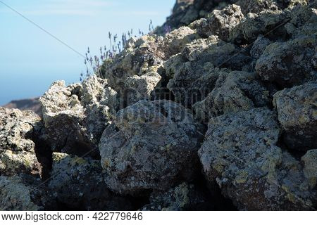 Close Up Of Volcanic Rocks At Lanzarote, Canary Islands, Spain, Europe