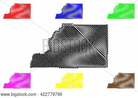 Sevier County, State Of Utah (u.s. County, United States Of America, Usa, U.s., Us) Map Vector Illus