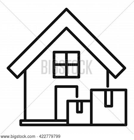 Fast Home Delivery Icon. Outline Fast Home Delivery Vector Icon For Web Design Isolated On White Bac