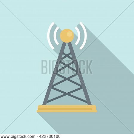 Podcast Tower Icon. Flat Illustration Of Podcast Tower Vector Icon For Web Design