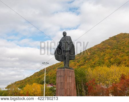 Kamchatka Peninsula, Russia - October 1, 2018: Bronze Monument To The Leader Of The Proletariat Vlad