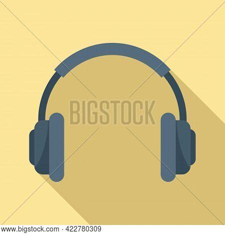 Podcast Headphones Icon. Flat Illustration Of Podcast Headphones Vector Icon For Web Design