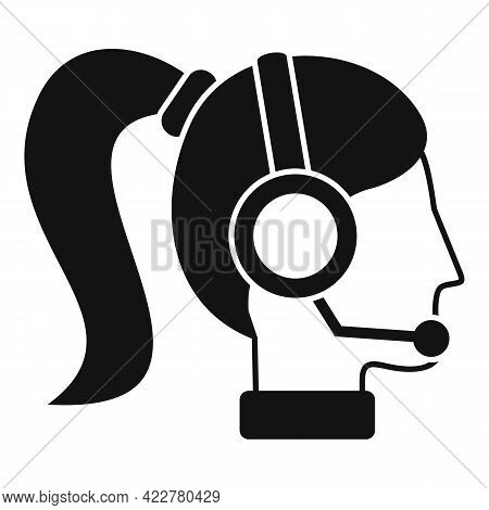 Woman Podcast Icon. Simple Illustration Of Woman Podcast Vector Icon For Web Design Isolated On Whit