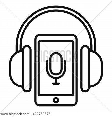 Smartphone Podcast Icon. Outline Smartphone Podcast Vector Icon For Web Design Isolated On White Bac