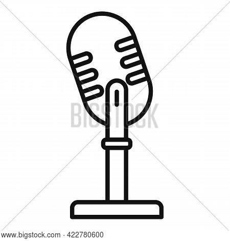 Studio Microphone Podcast Icon. Outline Studio Microphone Podcast Vector Icon For Web Design Isolate