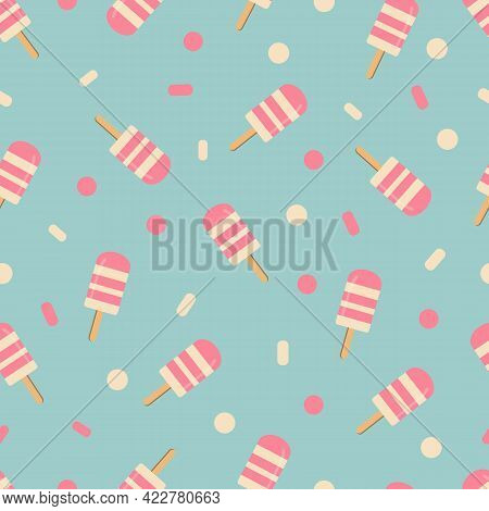 Ice Cream Pattern On Blue Background. Baby Background For Fabric Textile. Food Summer Backdrop In Fl