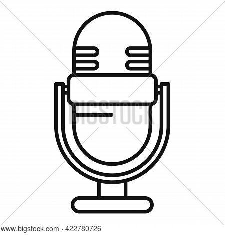 Podcast Home Microphone Icon. Outline Podcast Home Microphone Vector Icon For Web Design Isolated On