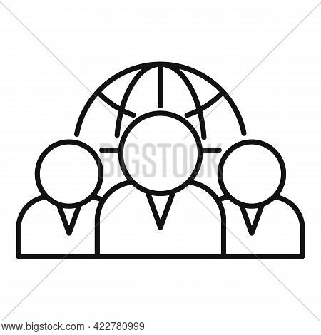 Outsource Global Team Icon. Outline Outsource Global Team Vector Icon For Web Design Isolated On Whi
