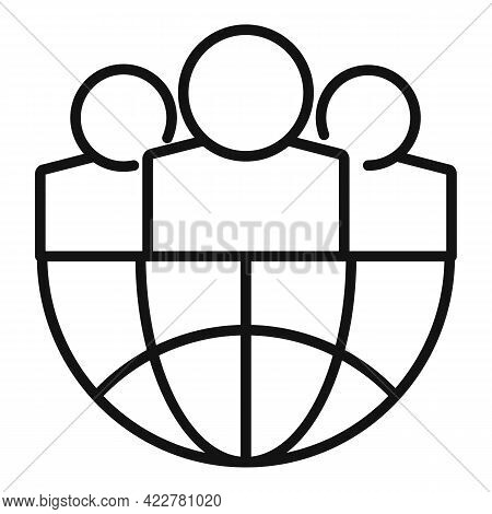 Outsource Global Group Icon. Outline Outsource Global Group Vector Icon For Web Design Isolated On W