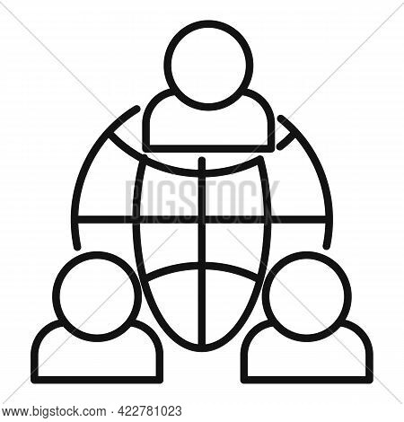 Outsource Global Network Icon. Outline Outsource Global Network Vector Icon For Web Design Isolated