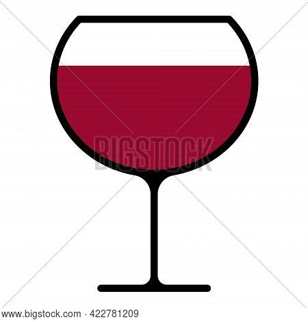 Wineglass With Red Wine Isolated On White Background. Alcoholic Drink Wine Glass In Flat Style. Vect