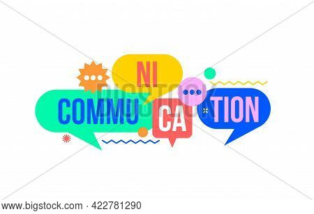 Communication Concept From Colorful Speech Bubbles With Word-communication.dialog Bubbles As Symbol
