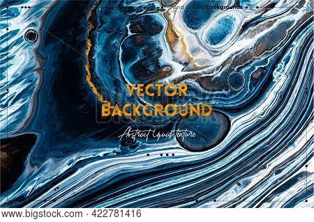 Fluid Art Texture. Background With Abstract Iridescent Paint Effect. Liquid Acrylic Artwork With Flo