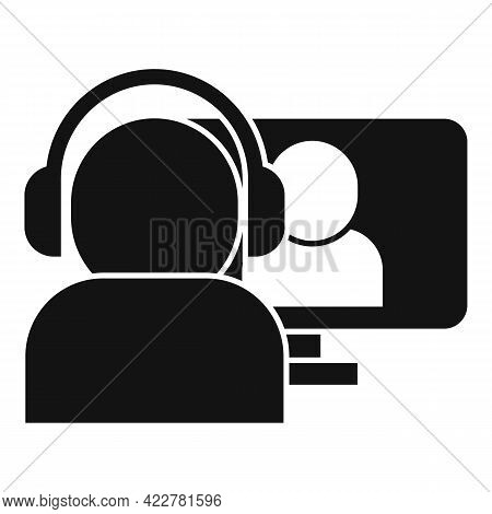 Pc Video Call Icon. Simple Illustration Of Pc Video Call Vector Icon For Web Design Isolated On Whit