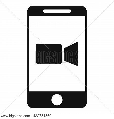 Cellphone Video Call Icon. Simple Illustration Of Cellphone Video Call Vector Icon For Web Design Is