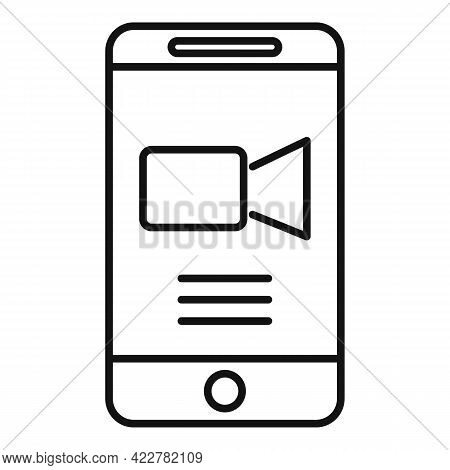 Cellphone Video Call Icon. Outline Cellphone Video Call Vector Icon For Web Design Isolated On White