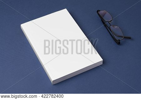Closed Novel Book With Blank Cover On Blue Background, Editable Mock-up Series Template Ready For Yo